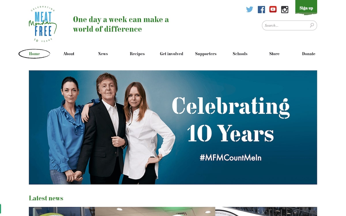Website design of Meat Free Mondays campaign